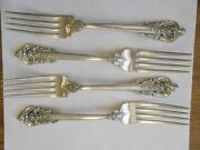 Set Of 4 Wallace Grand Baroque Sterling Silver Dinner Fork Forks 7.5 No Mono