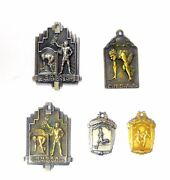 5 Rare Sterling Silver Sports Medals From The Catholic Hs Athletic Assoc. 1944