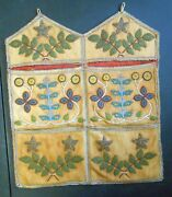 Native American Iroquois Mohawk Lrg Floral Beaded 4 Pocket Wall Hanging C 1870