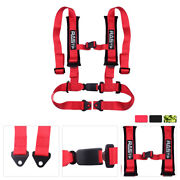 Auto Car Safety Seat Belt Buckle Harness Universal Vehicle Racing 4 Point Red