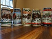 Lot Budweiser Beer Clydesdale Holiday Christmas Stein Mug '90 '88 '96 '95 '93