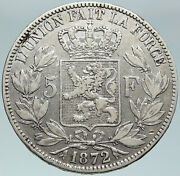 1872 Belgium With King Leopold Ii And Lion Antique Silver 5 Francs Coin I87474