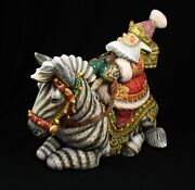 Magnificent Russian Santa Hand Carved And Painted Riding Zebra