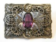 Antique Large Ornate Purple Stone Brooch Grapes Leaves W/ Cannetille Scrollwork