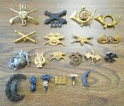 20 Pc Orig Us Military Pin Hat Badges 1870-1920s Indian Spanish Amer Wars Ww1-2