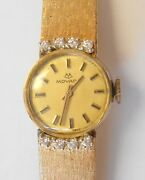 Vintage Movado Diamond 14k Solid Gold Wrist Watch And Band Womens 17jewel Working