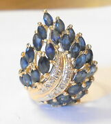 Designer Signed 14k Gold Blue Sapphire Diamond Tiered Flowing Flame Ring Size 7