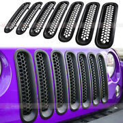 7x Front Grill Mesh Inserts Clip-in Grille Guard For 0717 Jeep Wrangler Jk Jku