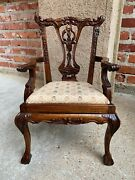 Vintage French Carved Mahogany Doll Child's Chair Louis Xv Chippendale Style