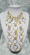 Vintage Pilgrim Circle Fower Drop Necklace Crystal Yellow Charm Silver
