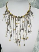 Vintage Pilgrim Waterfall Necklace Crystal Yellow Fairies Charm Silver