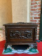 Antique French Carved Oak Letter Desk Box Black Forest Jewelry Collector Case
