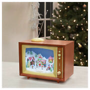 Animated Musical Sweet Shops Tv Brown 10.25 X 8.5 Mdf Wood Holiday Figurine