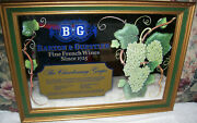 Vintage Bandg Barton And Guestier Fine French Wines Green And Gold Framed Bar Mirror