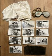 Antique Famous Aviator Lillian Gatlin Goggles Scarf Airplane Photos And Negatives