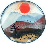 Vintage Noir Enamel Pin Dish Sunset With Mountains And Sun And Birds Signed 3.5