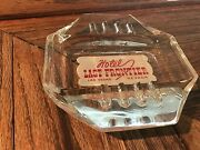 Hotel Last Frontier Casino Vintage Clear Glass Red Print Ashtray Las Vegas 1950