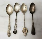 Lot Of 4 Sterling Silver Souvenir Spoons 33.3 Grams 7-i1090