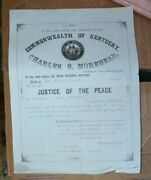 Charles Morehead Governor Kentucky Signed Justice Of The Peace 1859 Appointment