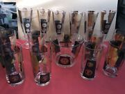 16 Pcs - Vintage Cera Black And Gold Coin Ice Bucket Highball And Pilsner Glasses