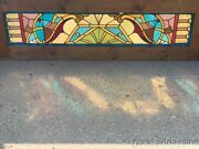 Antique Victorian Stained Leaded Glass Transom Window From Chicago 72 X 22