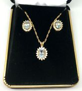 Aquamarine And Diamond Earrings And Pendant Necklace Set W/ Card Appraisal - March