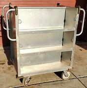 Rare 1952 Rol-away Vintage Double Sided Sloped Library Cart Lockcaster Free Ship