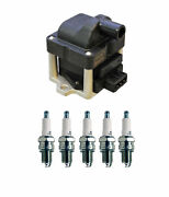 Denso Ignition Coil And 5 U-groove Conventional Spark Plugs .032 Kit For Vw 2.5 L5