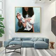 No Bar Club Girl Holding Cigarette Oil Painting Wall Art Canvas Painting Posters