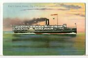 1908 - Sw City Of St. Ignace Detroit And Cleveland Express Steamer Postcard