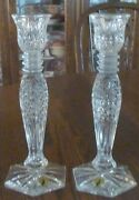 Pair Tall Waterford Candlesticks Candle Holders 9andfrac12 Perfect Signed With Sticker