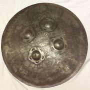 Antique Engraved Indo-persian Islamic Shield Around 1800andrsquos 24 Wide And 5lbs Iron