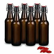 Yeboda 16 Oz Amber Glass Beer Bottles For Home Brewing With Flip Caps, Case Of