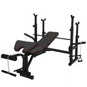 Adjustable Weight Bench Press W/leg Developer And Exercise Chart Home Gym Sport