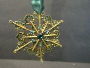 New Nordstrom Green Sparkle Snowflake Metal Hanging Ornament With Upc Tag