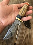Custom Hand Forged Damascus Steel Hunting Knife W/ Wood And Brass Guard Handle-