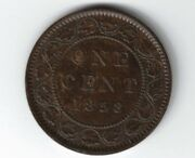 Canada 1858 Large Cent One Cent Queen Victoria Canadian Coin