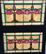 Beautiful Pair Of Antique Stained Leaded Glass Transom Windows 32 By 21