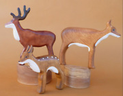 Wooden Deers And Fawn Set 3 Pcs Fawn Figurine Wooden Animals Play Set Wooden