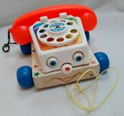 Fisher Price Chatter Telephone 1961 Vintage Pull Along Toy Phone On Wheels