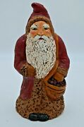 Peg Mccormack Pa Artist German Santa Claus Hand Cast In Stone Signed 1990 31