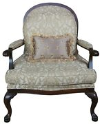Vintage French Oversized Library Club Arm Chair Lattice Queen Anne Accent