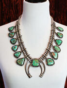 Vintage 50's Navajo Turquoise And Silver Squash Blossom Necklace