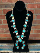 Vintage 60and039s Silver Turquoise And Bone 3 Leaf Squash Blossom Necklace
