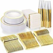 50 Guest Gold Plastic Plates With Disposable Cutlery Cups-party And Napkins For