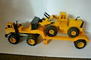 Very Rare Tonka Mighty Tractor Trailer With Loader - Huge