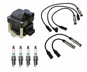 Denso Ignition Coil And Wire Set 4 Iridium Tt Spark Plug Kit For Vw 2.0l L4