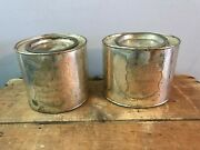 Vtg Dept 56 White Brass Sugar And Coffee Tins Cans Arabica Plants Empty Canisters