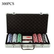 Professional 300 Piece Texas Hold'em Poker Casino Game Chips Set In Case