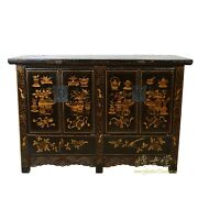 Antique Chinese Gilt Black Twin Cabinet/buffet Table Siderboard